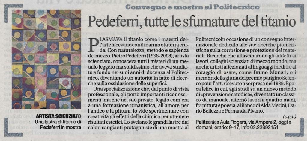 La Repubblica, 26/09/2013: Pedeferri, tutte le sfumature del titanio
