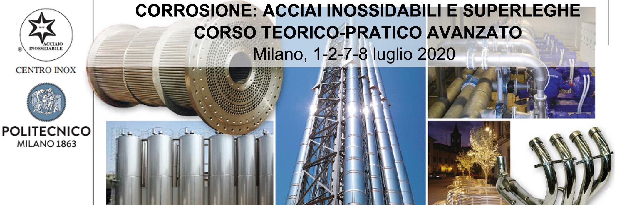 Corrosione di acciai inossidabili e superleghe: corso Centro Inox-PoliLaPP